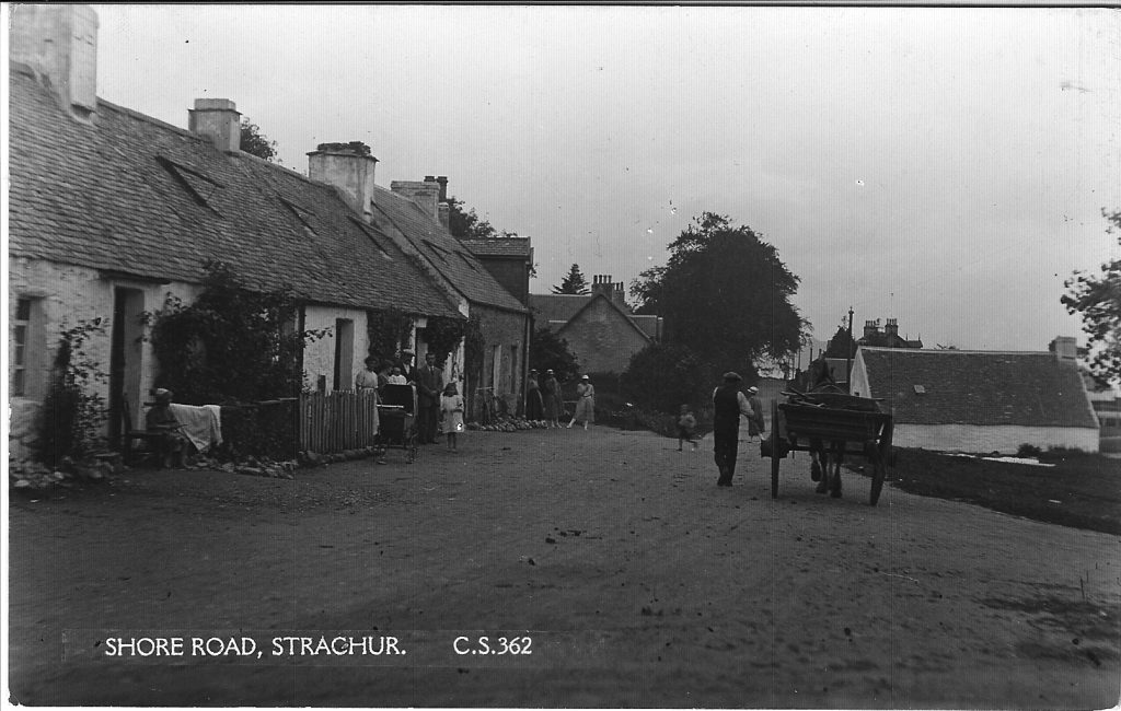 Black and White Postcard of The Bay, Strachur. Showing houses taken from The Avenue