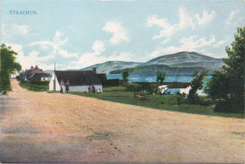 Colour picture of The Bay Strachur, taken from the houses looking towards The Fisherman's Pier