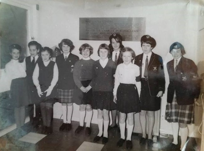Photo showing some members of Strachur Girl's Brigade attending the opening of the Red Cross Centre in Dunoon