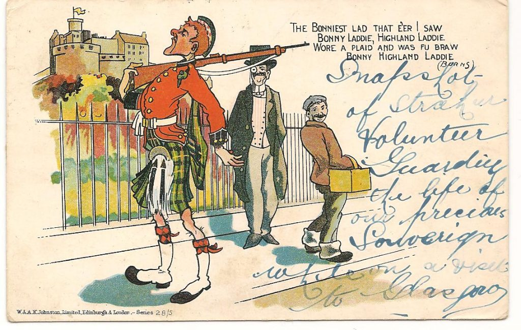 Comical Postcard Stating it is A Strachur Volunteer