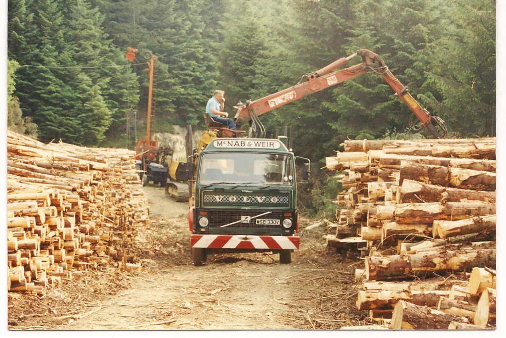 Donald McNab loading wood