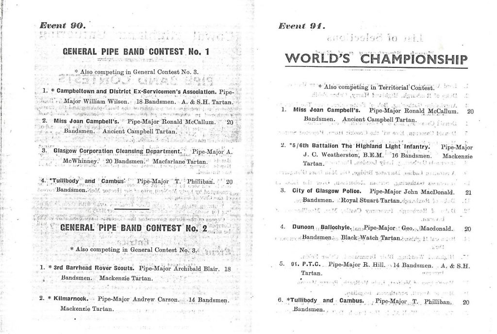 Programme for Cowal Games 1947