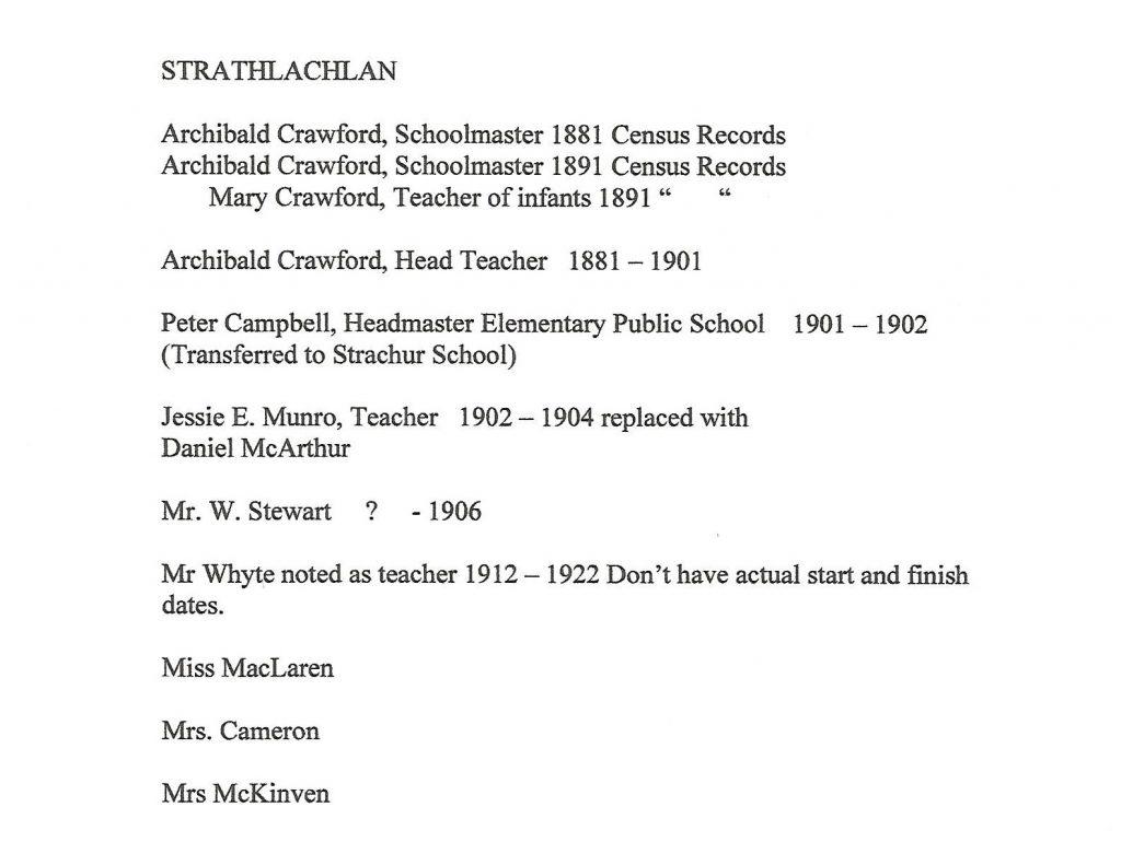 Strathlachlan School Teachers