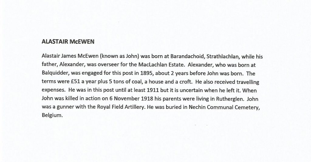 WW1 text about Alastair McEwan