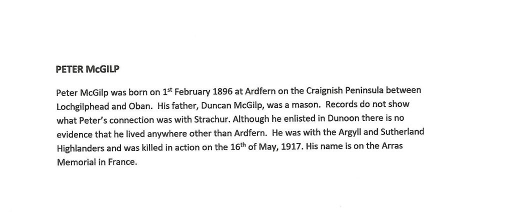 WW1 text about Peter Mcgilp