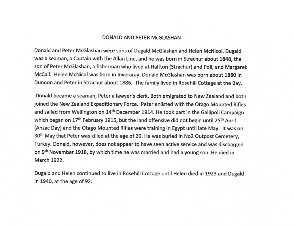 WW1 text about Donald and Peter McGlashan