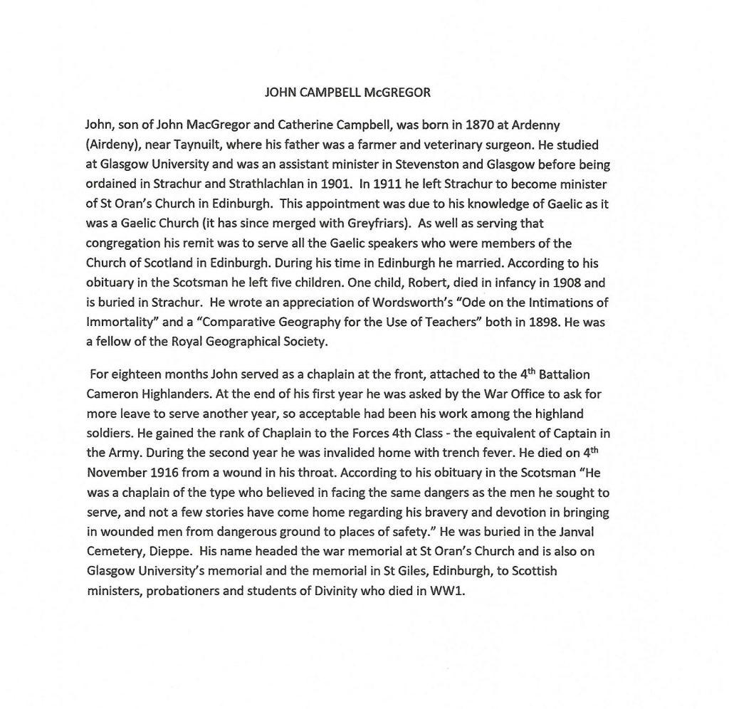 WW1 text about John Campbell MacGregor