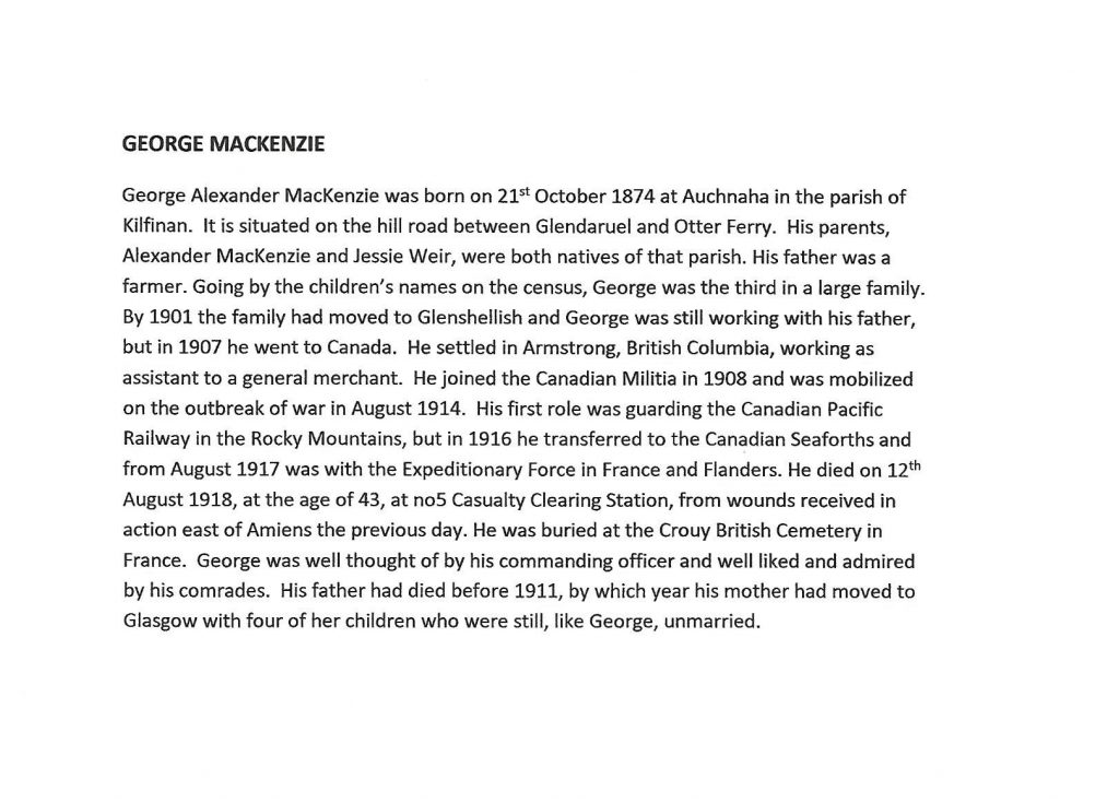 WW1 text about George Mackenzie