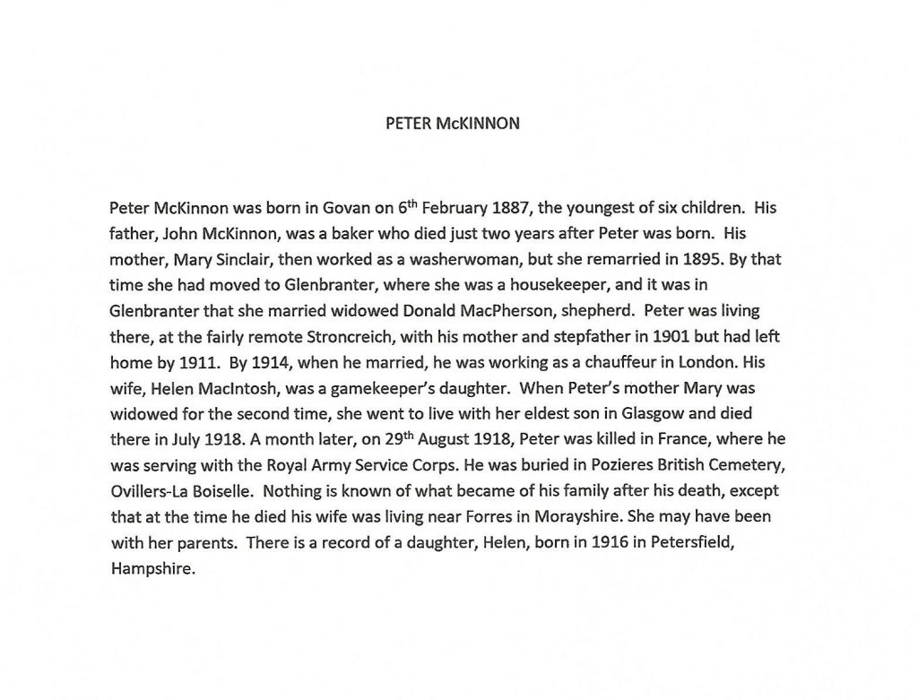 WW1 text about peter mcKinnon