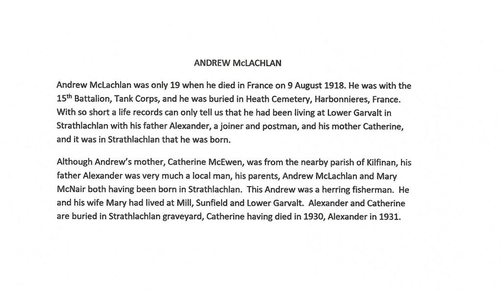 WW1 text about Andrew McLachlan