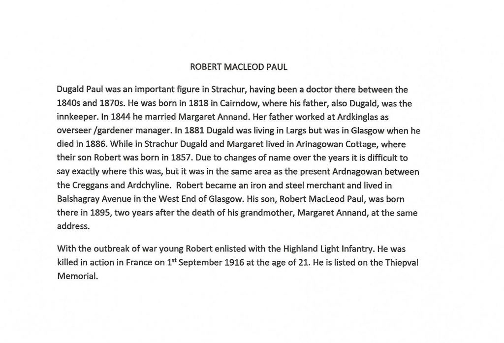 WW1 text about Robert MacLeod Paul