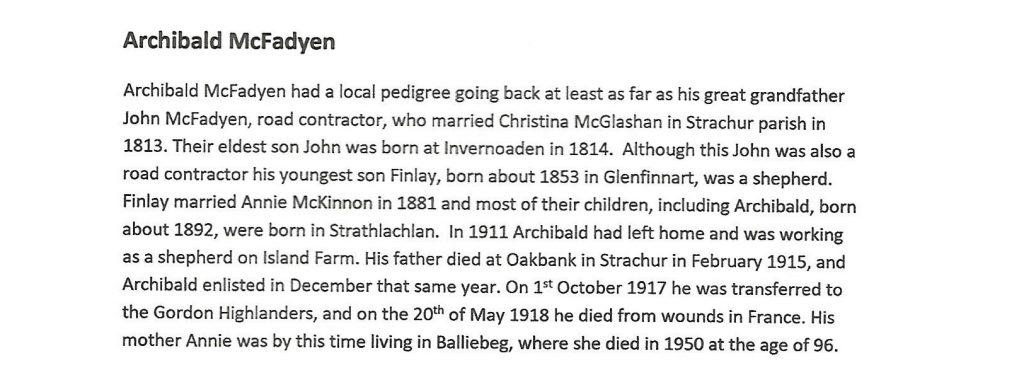 WW1 text about Archibald McFadyen