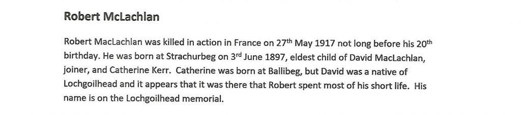 WW1 text about Robert McLachlan