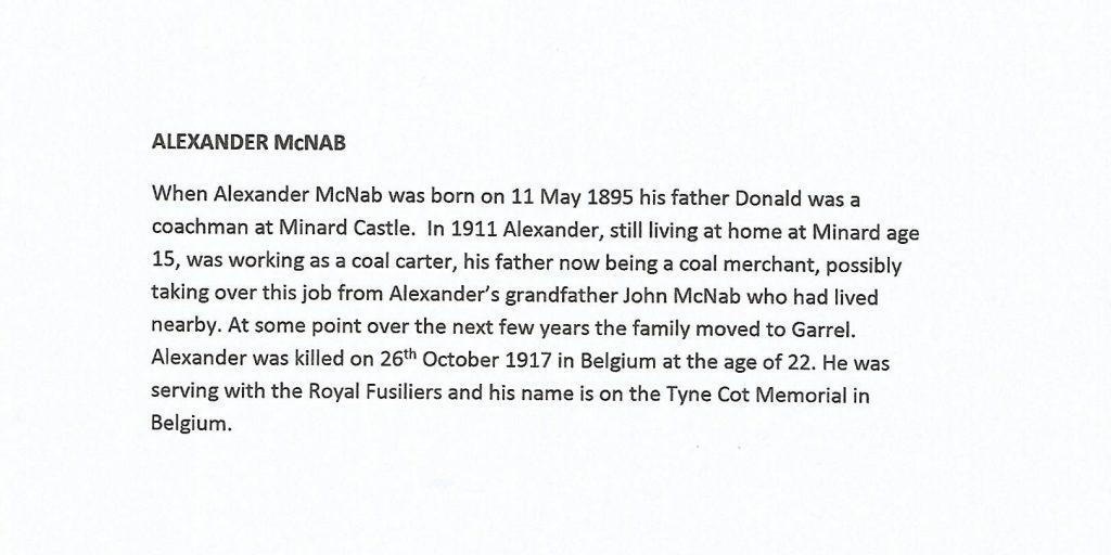 WW1 text about Alexander McNab