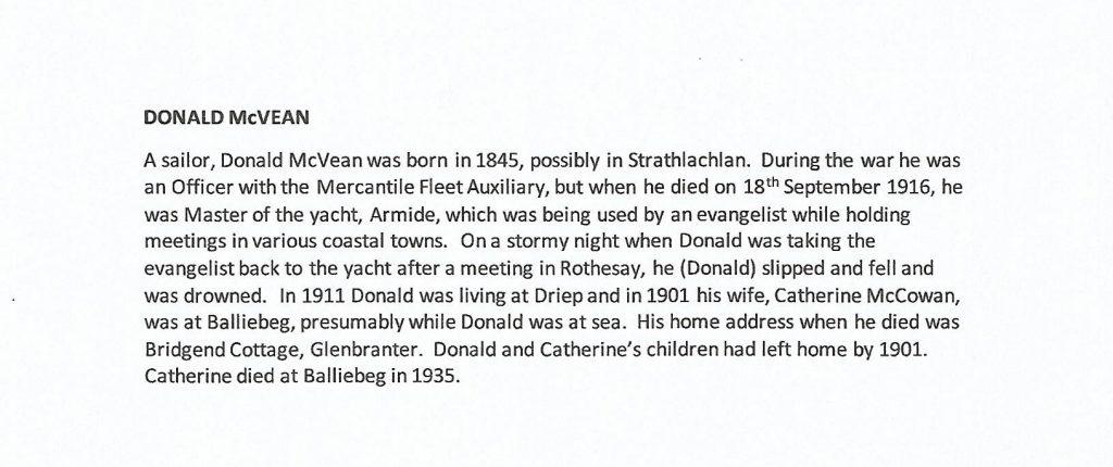 WW1 text on Donald McVean