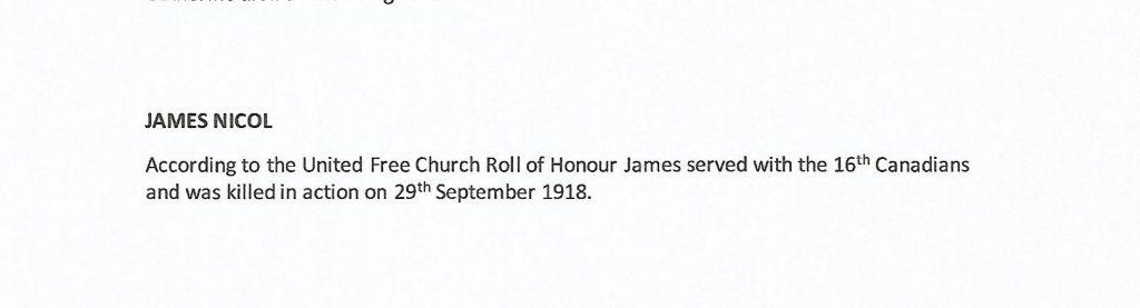 WW1 text about James Nicol