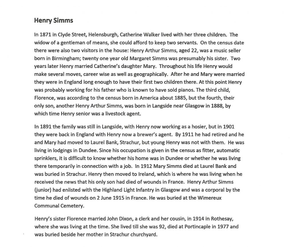 WW1 text about Henry Simms