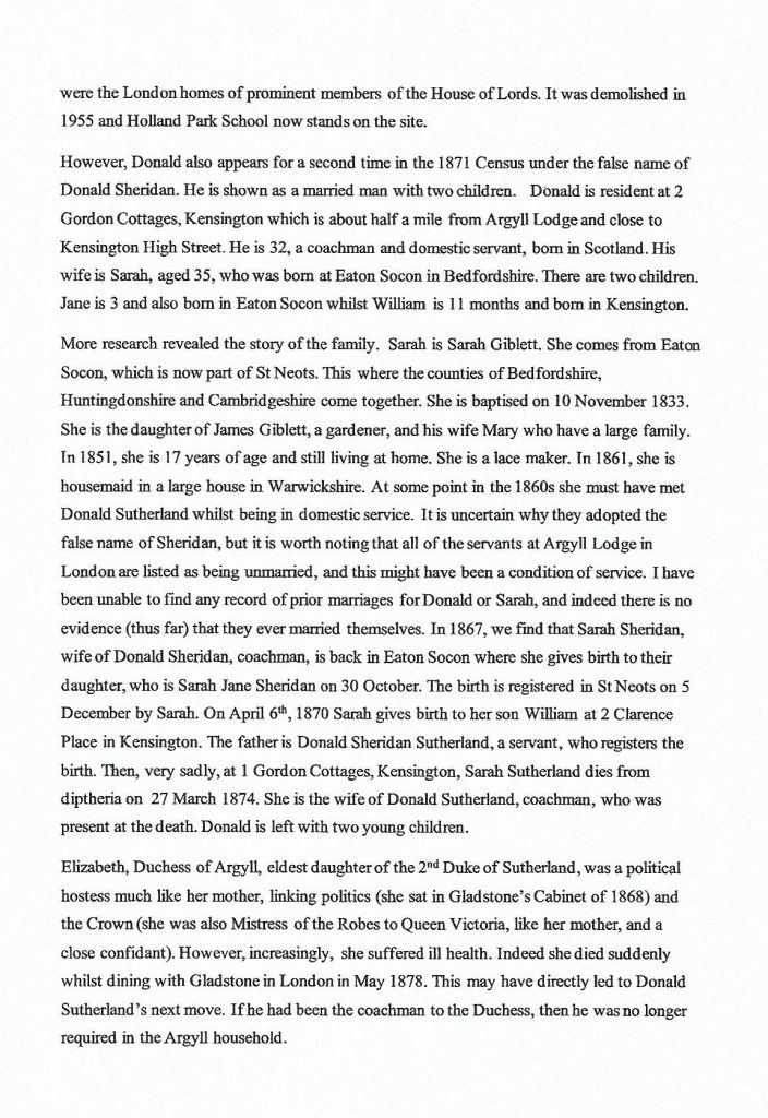 Donald Adamson's Story of Donald Sutherland Innkeeper St. Catherines