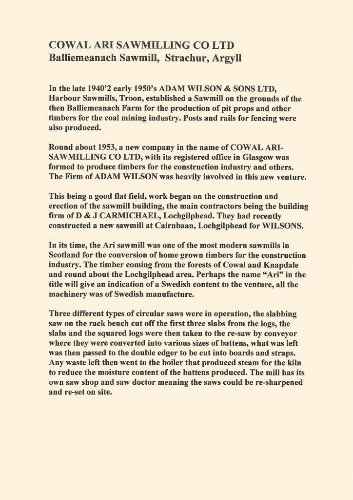 Information on Cowal Ari Sawmill